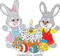 Kuchen, gemalt, eier, ostern. Colorfully, wenig, kaninchen ...