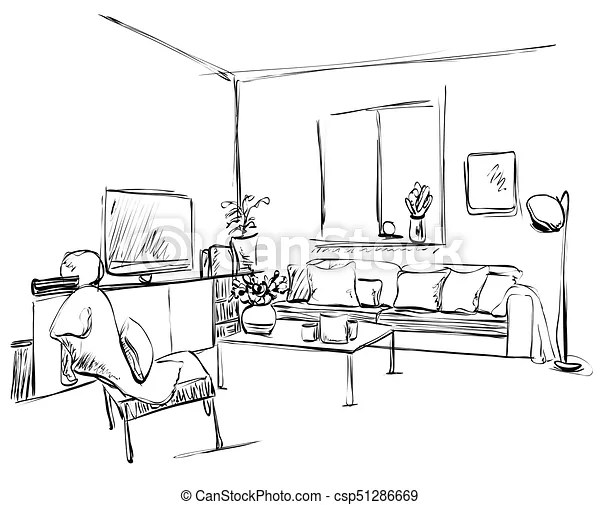 Lebensunterhalt, skizze, pictures., zimmer, modern, kissen