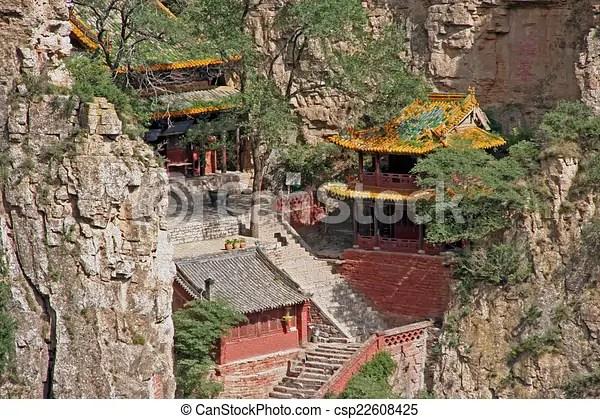 Porzellan. datong. shanxi provinz. heng. shan. kloster. oel. Taoist. hengshan. porzellan. resemble. shanxi. datong. provinz.   CanStock