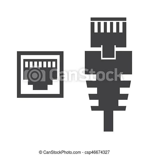 Rj45, kabel, abbildung. Kabel, rj45, llustration