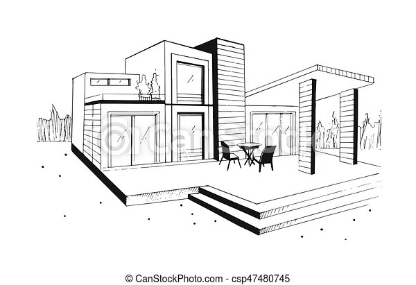 Skizze, illustration., villa., wohnhaeuser, modern, house