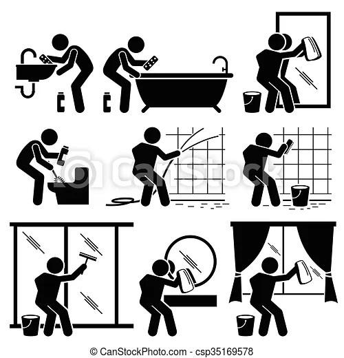 Toilette, badezimmer, mann, window, reinigt. Satz, wäsche