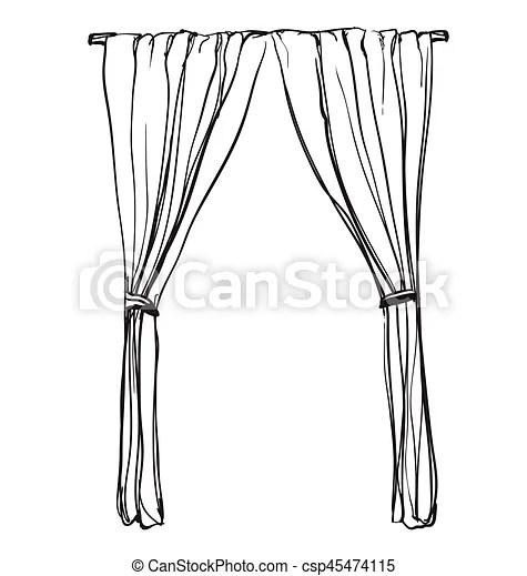 Vorhänge, sketch., abbildung, hand, inneneinrichtung