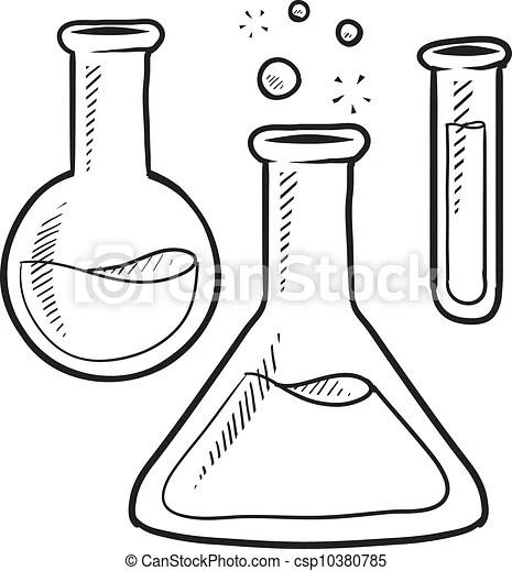 Wissenschaft, skizze, labor ausrüstung. Stil, werbung