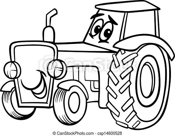 Vector-illustration af coloring, bog, cartoon, traktor