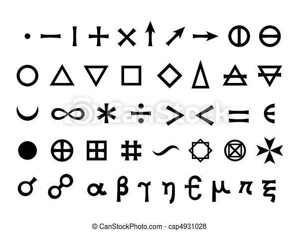 Symboler, hoved, elementer, basic. Matematiske, elementer