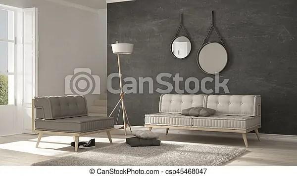 Alfombra sala minimalista sof gris diseo interior