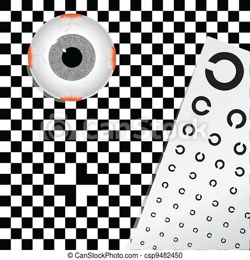 Amblyopia, problemas de visión. mesa de prueba. ilustración de vectores.