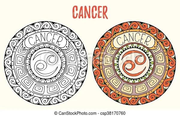 Cáncer Zentangle Señales Pegatinas Mandala Diseño Pages Tatuaje Colorido Medios Mandalas Libro Negro Dibujado Blanco Signo