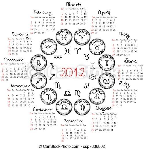Calendario, zodiacal, signs.j, 2012. Calendario, zodiacal