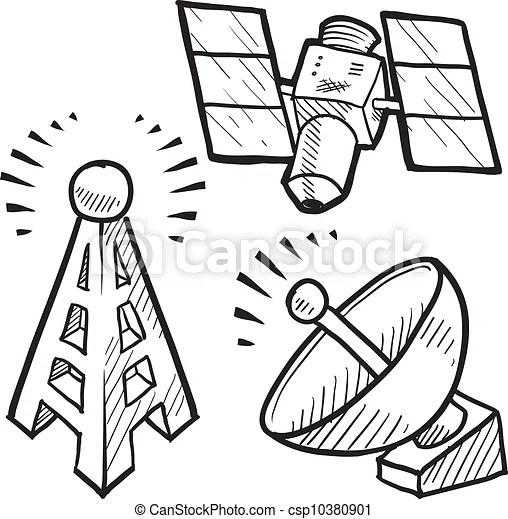 Vector Clip Art de Bosquejo, objetos, Telecomunicaciones