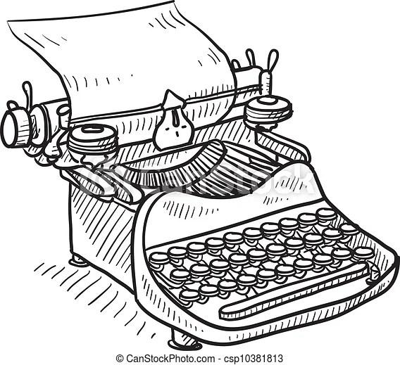 Vector Clip Art de vendimia, manual, Máquina de escribir