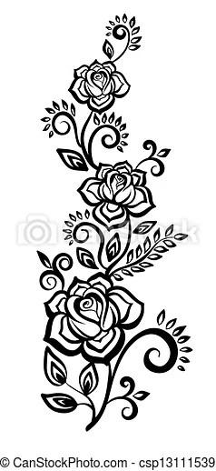 Vectores de blanco y negro flores hojas  blanco y negro
