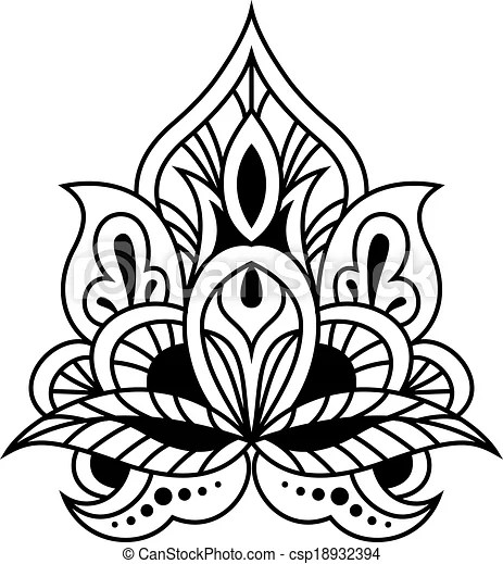 EPS vectores de Negrita, persa, diseño, floral, negro