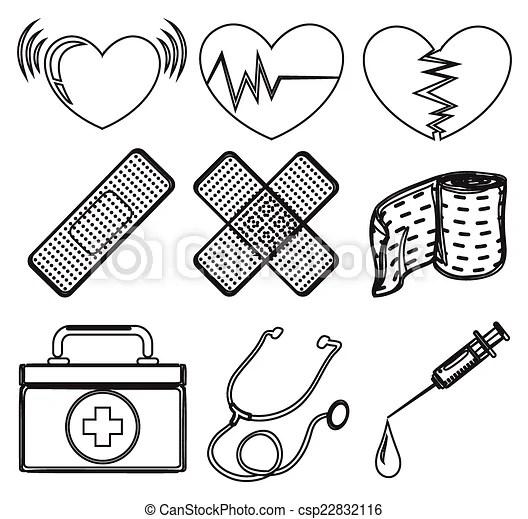 Vector Clip Art de garabato, diferente, diseño, médico