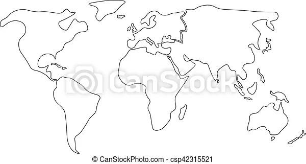 Ilustraciones de Vectores de contorno, mapa, continentes