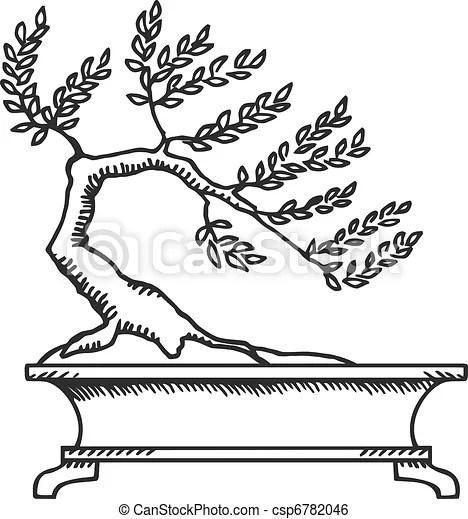 Clip Art de vectores de bonsai, Bosquejo