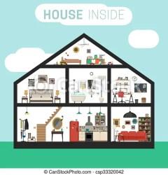Casa interior Casa en corte con muebles la casa de