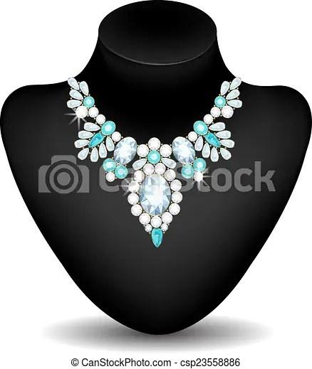 Collar de diamantes y aquamarines en un maniquí. | CanStock