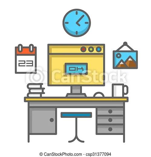 Trabajo en la computadora. Una señal de arte de escritorio. ilustración de vectores.