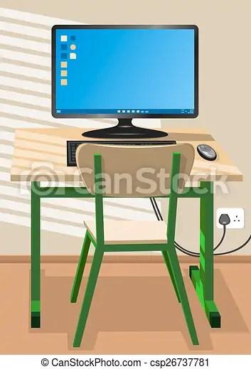 Un escritorio. una silla y una computadora.
