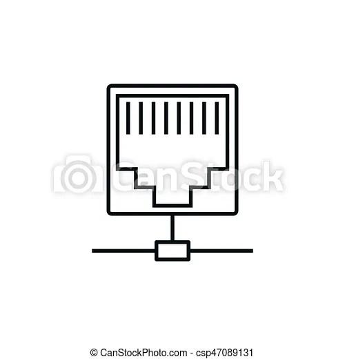 Ethernet, línea, icono. Puerto, plano de fondo, ethernet