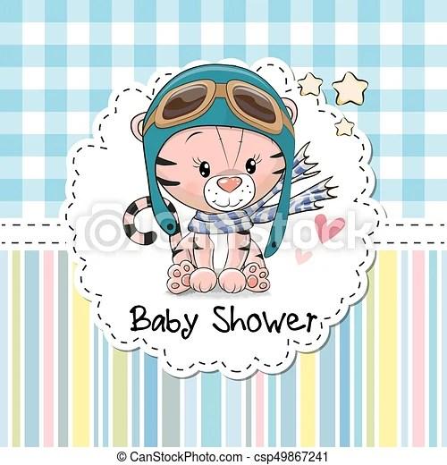 Tarjeta de felicitación de baby shower. Una tarjeta de felicitación con un lindo tigre de dibujos animados.