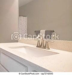 En el interior del cuarto de baño cuadrado con suelo gris oscuro y pared gris claro la habitación está amueblada con una CanStock