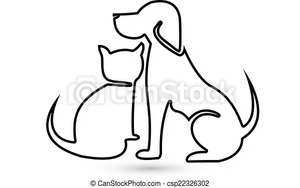 Logotipo Silueta Perro Gato