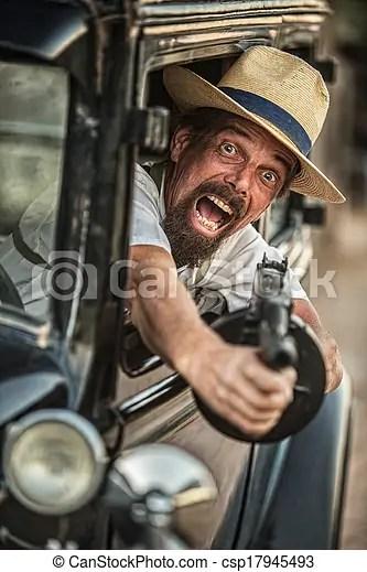 Una ametralladora gangster. Una ametralladora de gangsters de 1920.
