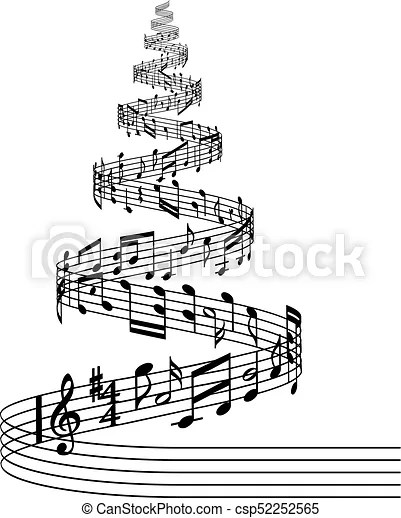 Música, vector, árbol, raya, navidad. Compuesto, vector