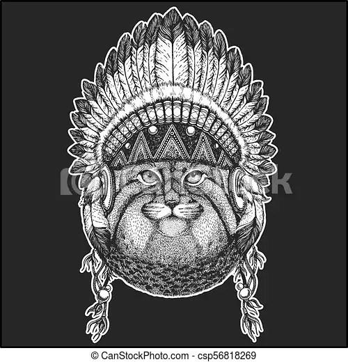 Manul Plumas Elegancia Remiendo Tatuaje Nativo Estilo Indio