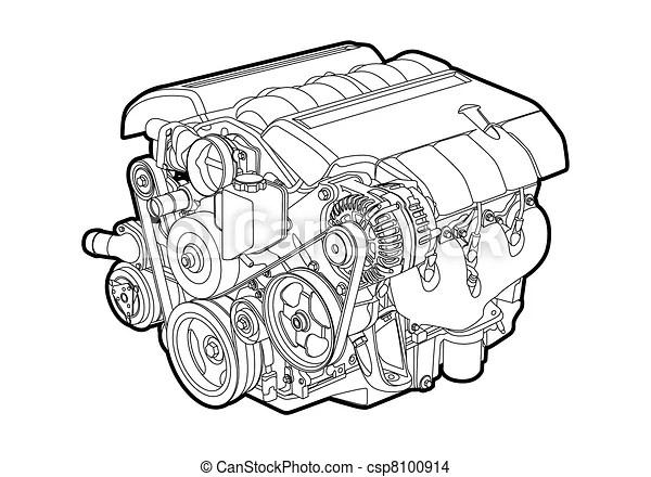 Motor de vector. Ilustración vectro de un motor de fondo