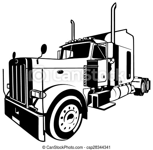 Norteamericano, camión. Ilustración, contorneado