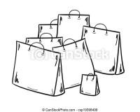 Pocos, bolsas de compras. Bolsas, bosquejo, compras, pocos.