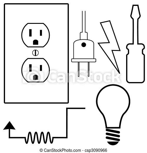 Reparación, conjunto, electricista, iconos, símbolo