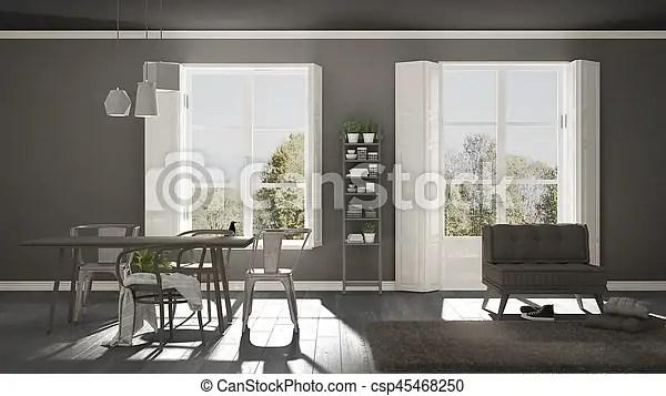 Sala grande minimalista panorama escandinavo plano de