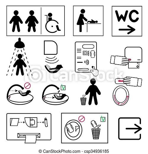 Servicio, cuarto de baño, público, lugares, señales