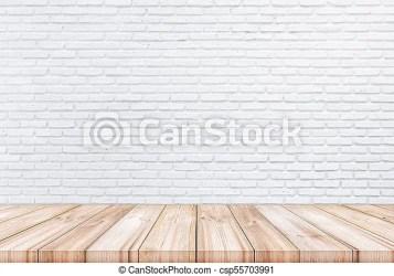 Mesa de madera vacía con fondo de pared de ladrillo de color blanco se puede utilizar la exposición de productos CanStock