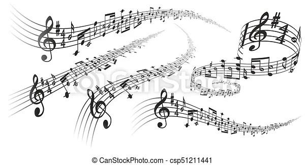 Decoraciones musicales de vector. Cinco vectores negros
