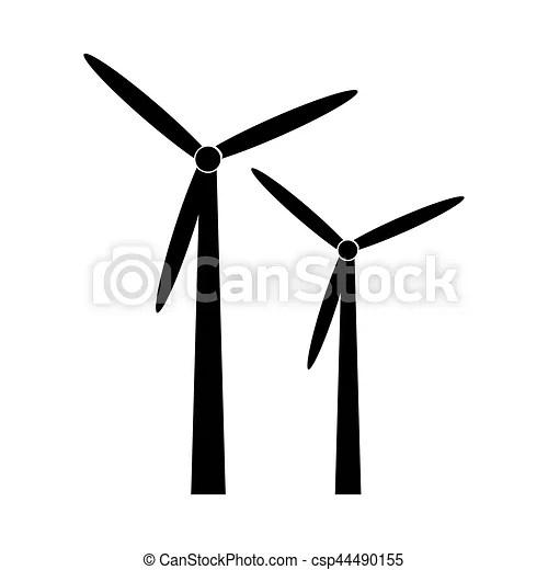 Éolienne, silhouette, énergie, noir, alternative