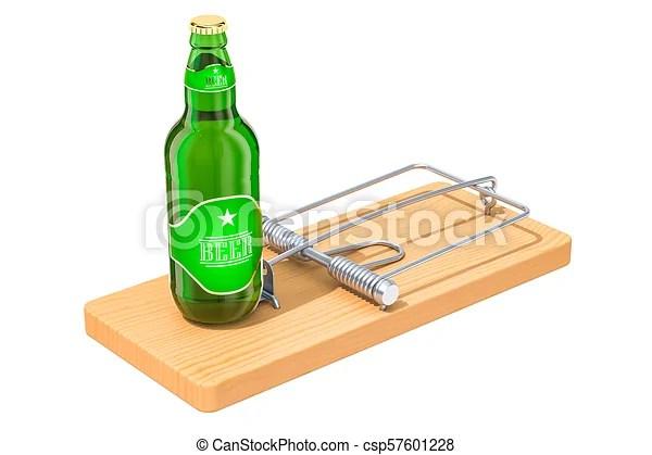 Alcool Concept Rendre Biere Piege Bouteille Souriciere 3d Alcool Bouteille Concept Isole Rendre Biere Piege Canstock