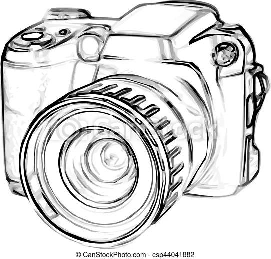 Appareil photo, dessin, numérique. Croquis, vieux, simple