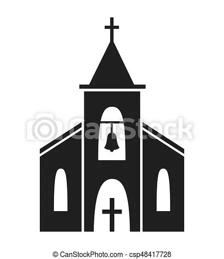 Arrière-plan., blanc, icône, isolé, église. Chapelle