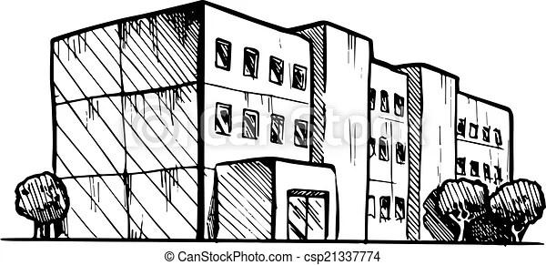 Bâtiment, résidentiel, illustration, stylisé, vecteur