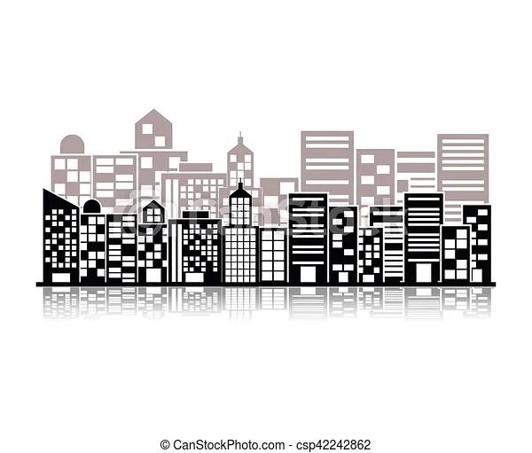 Bâtiment, scène ville, illustration, monochrome. Bâtiment