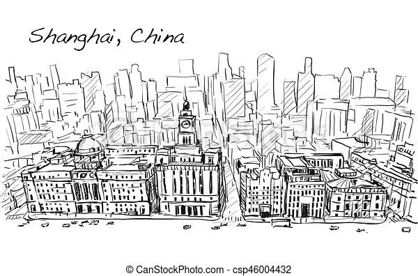 Bâtiment, ville, croquis, shanghai, en ville, gratuite