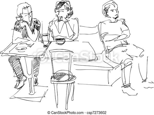 Café, groupe, jeunes.