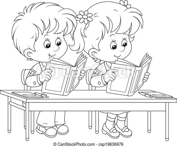 Illustrations Vectorisées de lire, leçon, écoliers