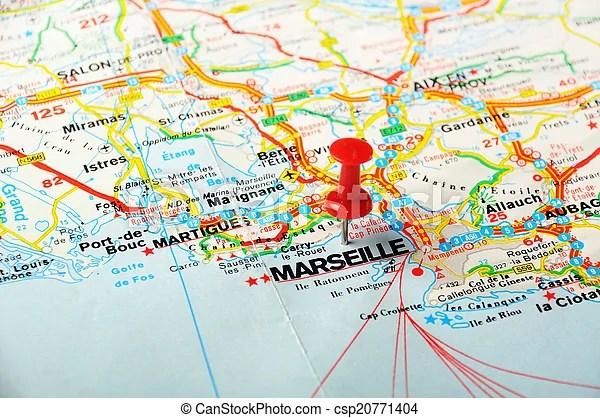 Photographies de carte, Marseille, france - rouges, poussée, épingle,... csp20771404 - Recherchez des Photos, des Images, et des Clipart